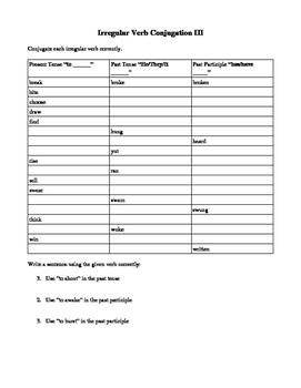 Irregular Verb Conjugation Practice