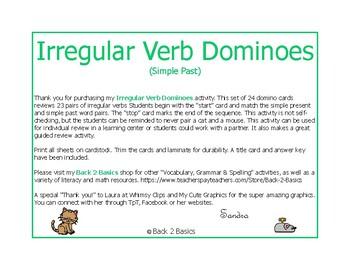 Irregular Verb Dominoes - Irregular Verbs - Verbs - Simple Verbs