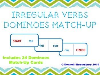Irregular Verb Dominoes Match-Up Activity
