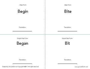 Irregular Verb Flashcards
