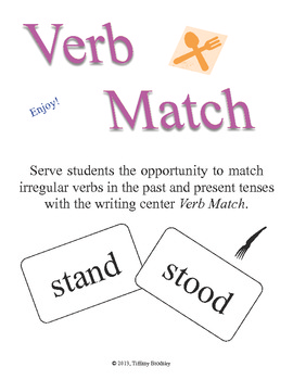 Irregular Verb Match Game or Writing Center Great for One on One or Small Group