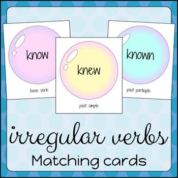 Irregular Verb Matching Cards - Pastel Bubbles