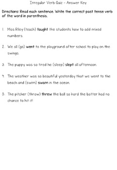 Irregular Verb Quiz