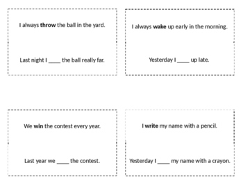 Irregular Verb Star Cards