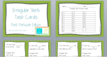 Irregular Verb Task Cards with Past Participles