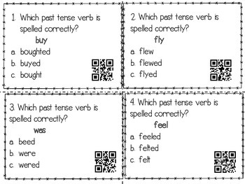 Irregular Verb Task Cards with and without QR Codes