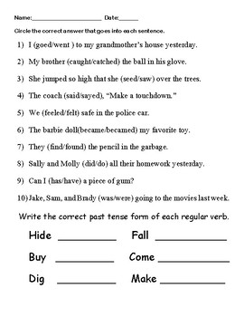 Irregular Verb Unit (Scavenger Hunts, Cut and Paste, Fill in the Blank)
