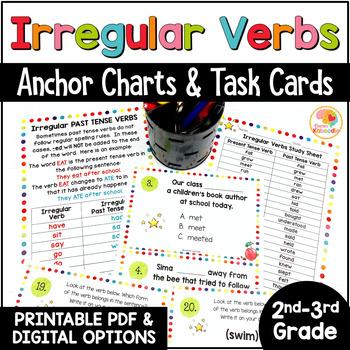 Irregular Verbs Anchor Charts and Task Cards