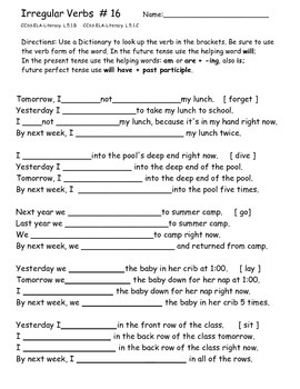 Irregular Verbs Practice Worksheets 16 - 20