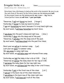 Irregular Verbs Practice Worksheets 16 - 20