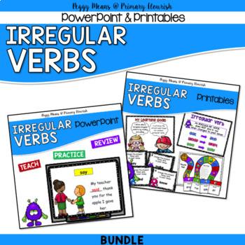 Irregular Verbs PowerPoint, Posters, Printables, Games {Bundle}