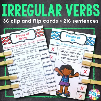 Irregular Verbs Activity: 24 Irregular Verbs Task Cards (Clip and Flip)