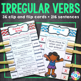 Irregular Verbs Activity: 24 Irregular Verbs Task Cards (Clip and Flip)