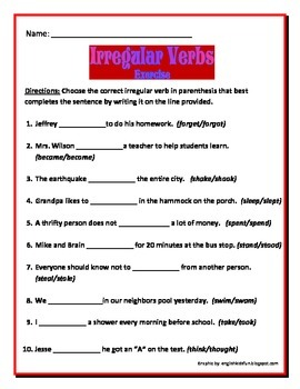 Irregular Verbs 2nd Edition - 3 pages 10 questions each: Common Core