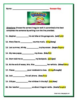 Irregular Verbs - 3 pages 10 questions each. Common Core