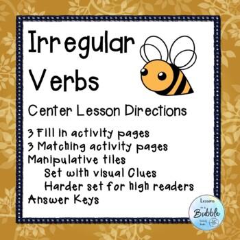 Irregular Verbs 3 sets of Center cards and more #flamingofriday