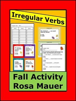 Irregular Verbs Autumn Theme Task Cards & Worksheet