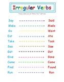 Irregular Verbs Chart