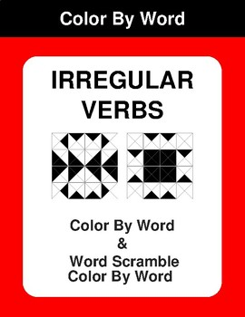 Irregular Verbs - Color By Word & Color By Word Scramble Worksheets
