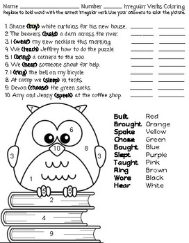 Irregular Verbs Coloring (EASY)