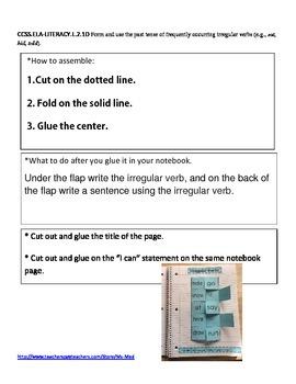 Irregular Verbs Common Core Second Grade L.2.1.D Interactive Notebooks