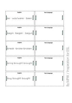 Irregular Verbs Flash Cards for ESL (basic verbs from British Council website)