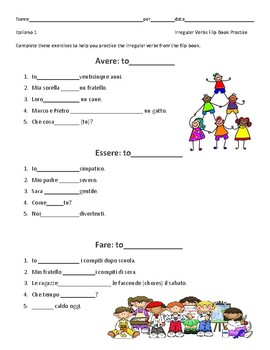 Irregular Verbs Flip Book Exercises