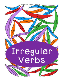 Irregular Verbs Grammar Extension, Foldables for Interactive Notebook, Coloring