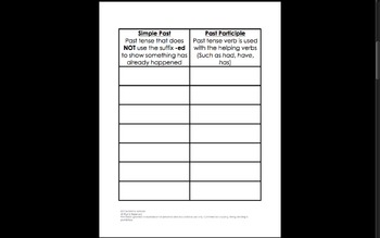 Irregular Verbs Interactive Notebook Activities