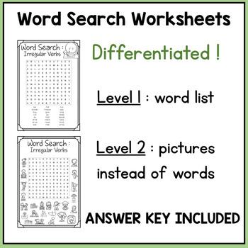 Irregular Verbs Memory Game + Word Search Activity