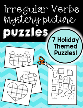 Irregular Verbs Mystery Picture Puzzles {7 Holiday Themed Puzzles!}