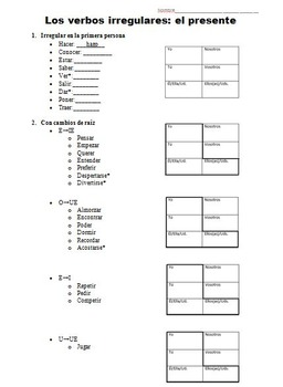 Irregular Verbs Package