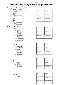 Irregular Verbs Package