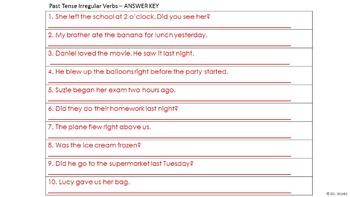 Irregular Past Tense Verbs Sentence Editing Strips