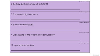 Irregular Verbs Task Cards - Past Tense Sentence Editing Strips