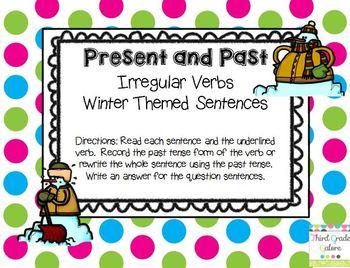 Irregular Verbs Past and Present - Winter Theme