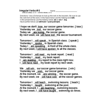 Irregular Verbs Worksheets 6-10