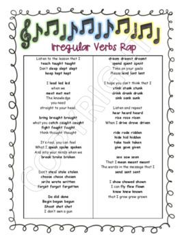 Irregular Verbs Rap (Write your own rap)