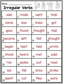 Irregular Verbs Task Cards Scoot Game