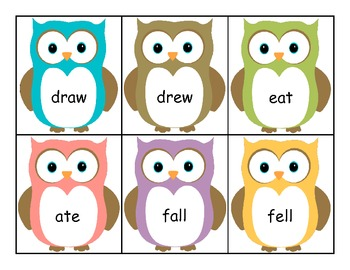 Irregular Verbs Sorting and Matching (Owl Theme)