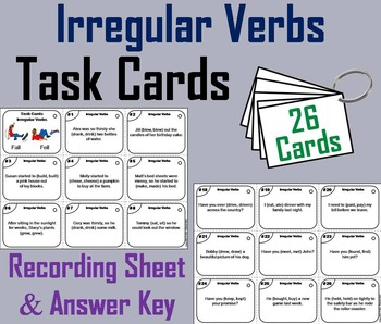 Irregular Verbs Task Cards 2nd 3rd Grade