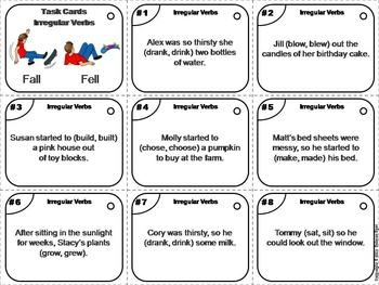 Irregular Verbs Task Cards 2nd 3rd Grade