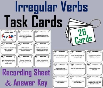 Irregular Verbs Task Cards/ Irregular Verbs Activity/ Irre