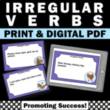 50 Irregular Verbs Task Cards, 2nd Grade Verb Worksheets Games
