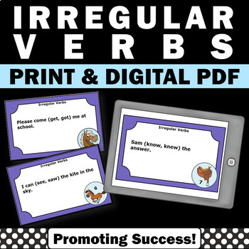 irregular verbs task cards games activities