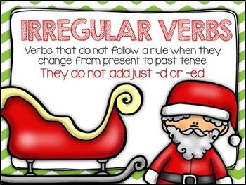 Irregular Verbs Task Cards - Holiday Edition