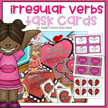 Irregular Verbs Valentine's Day Task Cards
