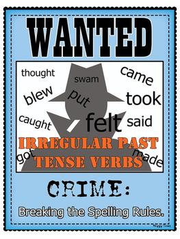 Irregular Verbs WANTED Poster (grammar)