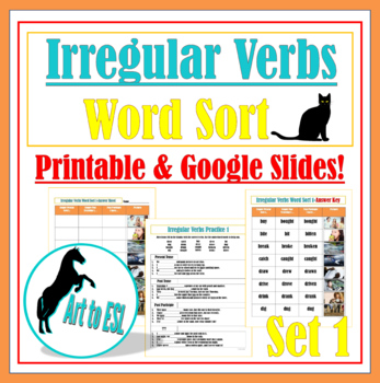 Irregular Verbs Word Sort #1 with Pictures and Cloze Review Questions FREE