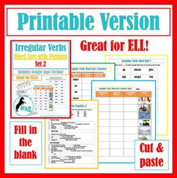 Irregular Verbs Word Sort #2 with Pictures and Cloze Review Questions